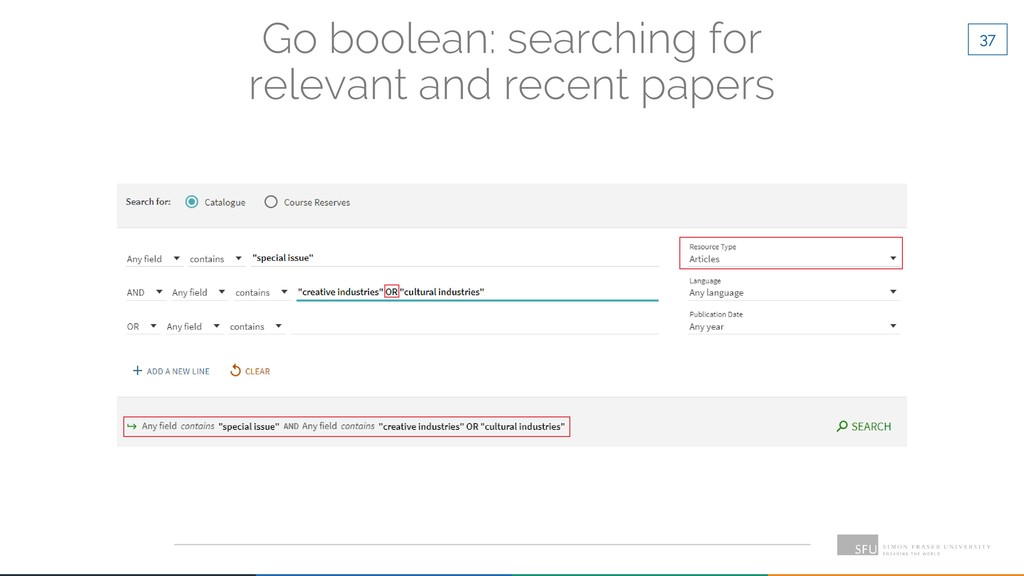37 Go boolean: searching for relevant and recen...