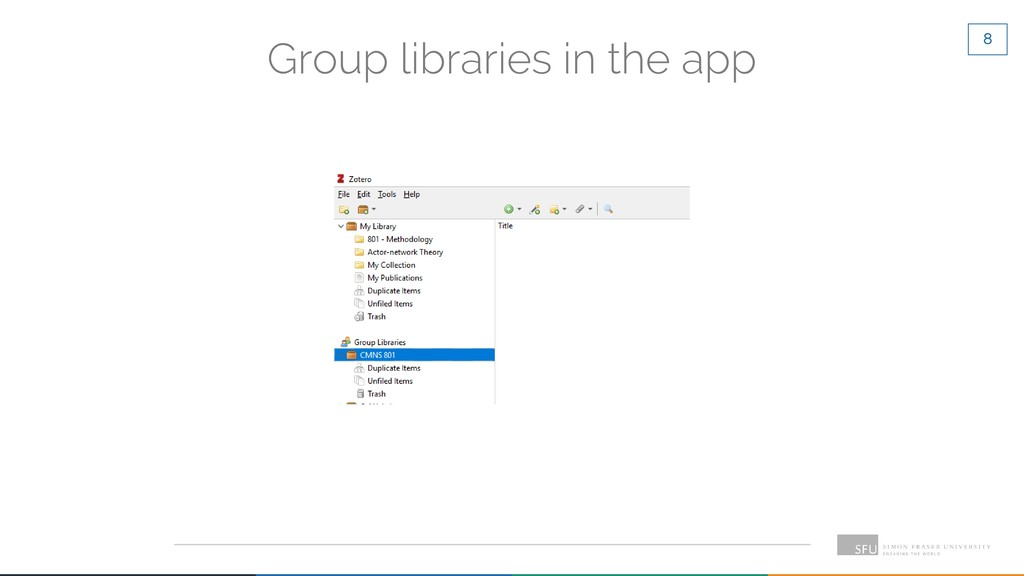 8 Group libraries in the app