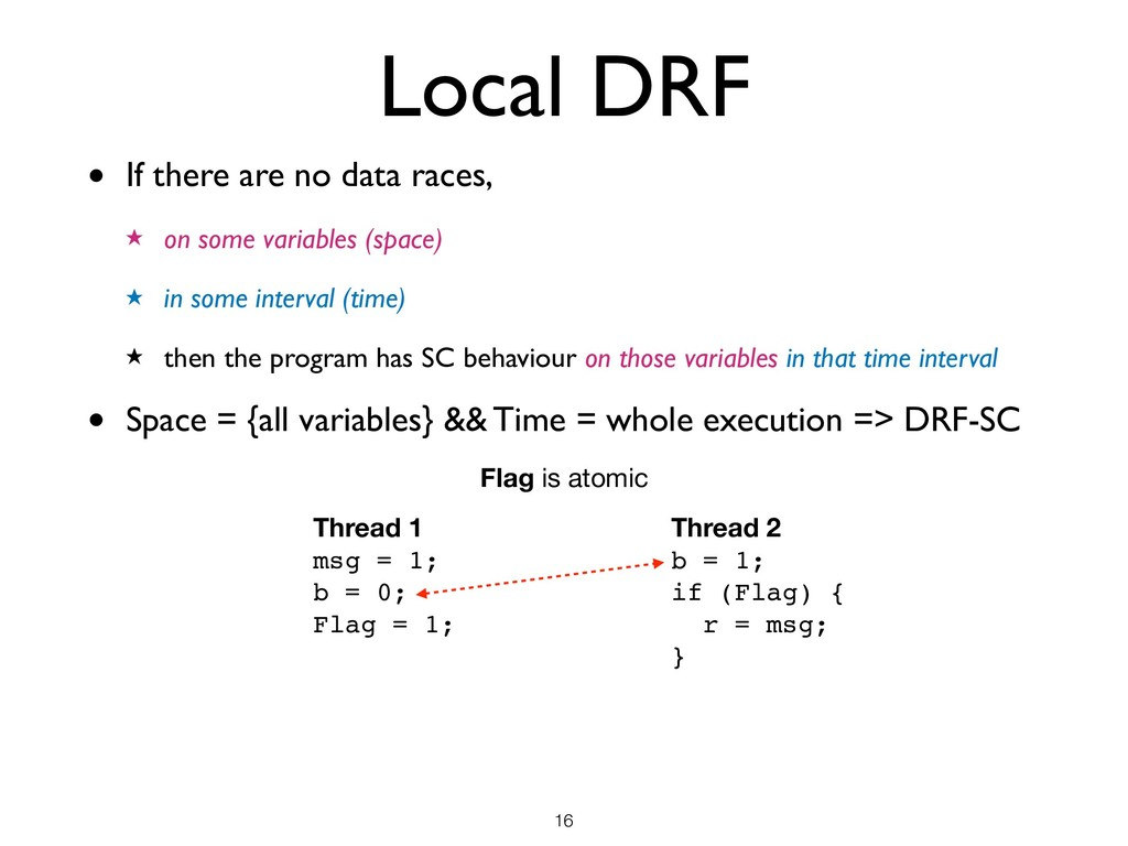 Local DRF • If there are no data races, ★ on so...