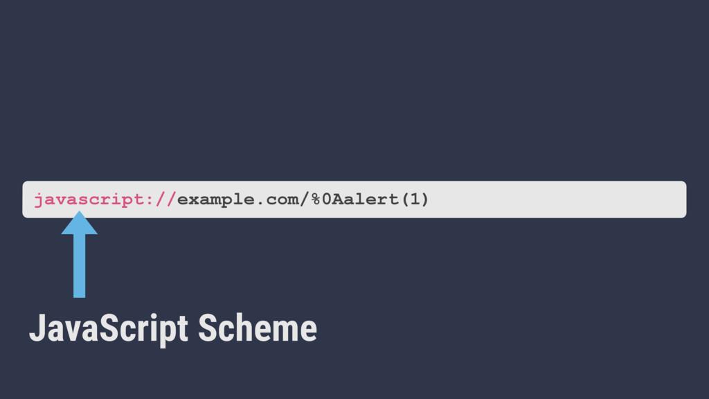 example.com/%0Aalert(1) JavaScript Scheme javas...