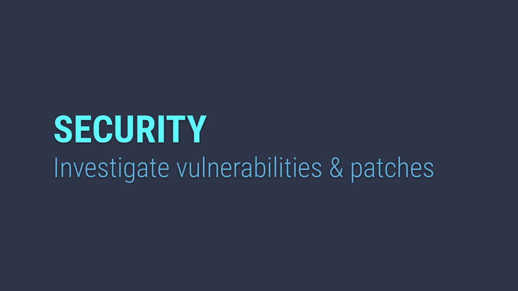 Investigate vulnerabilities & patches SECURITY
