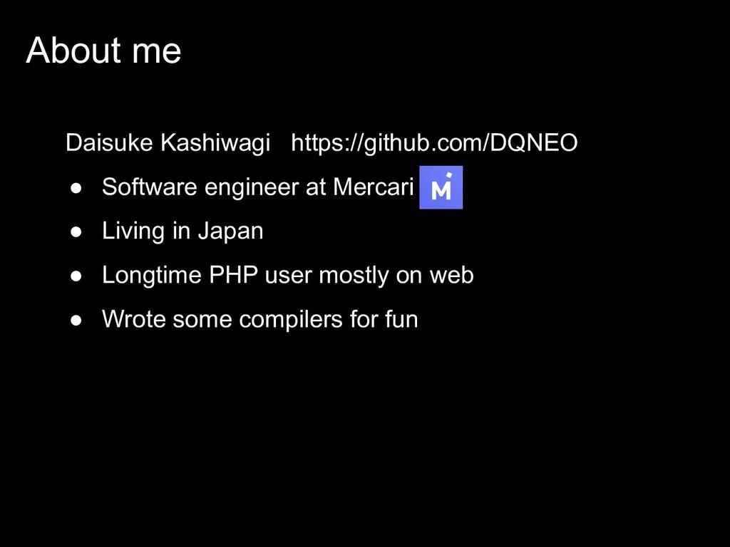 About me Daisuke Kashiwagi https://github.com/D...