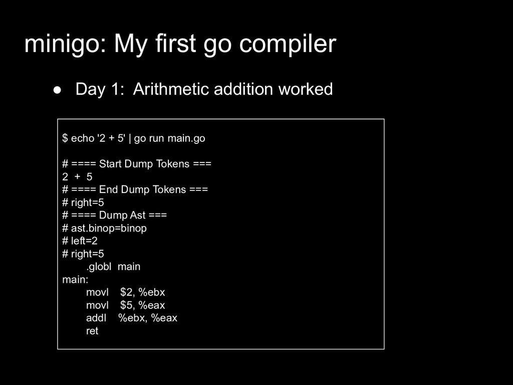 ● Day 1: Arithmetic addition worked minigo: My ...