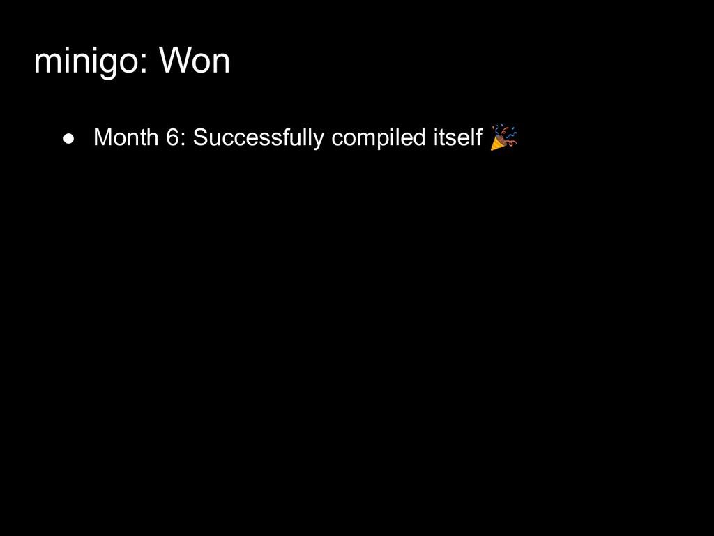 ● Month 6: Successfully compiled itself  minigo...