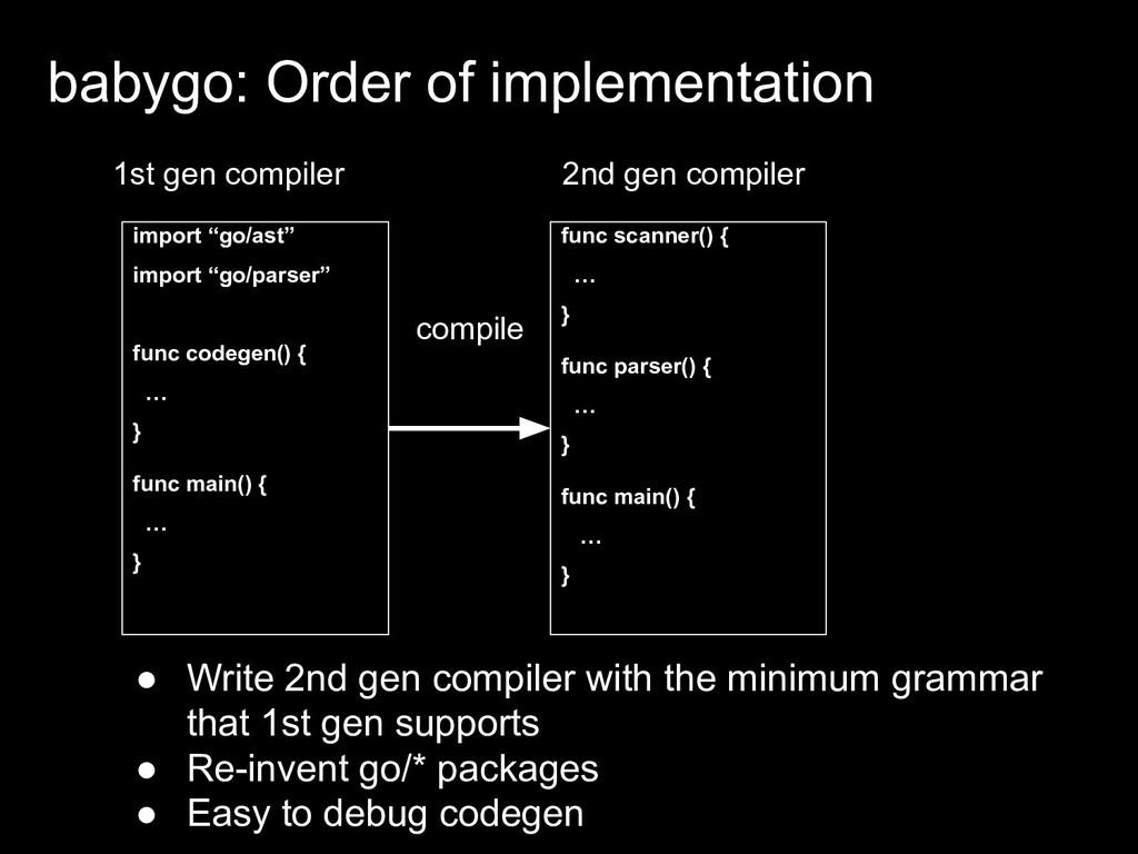 2nd gen compiler func scanner() { … } func pars...