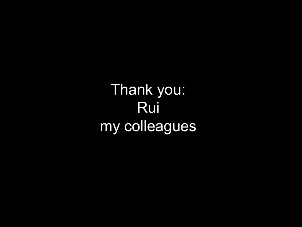 Thank you: Rui my colleagues