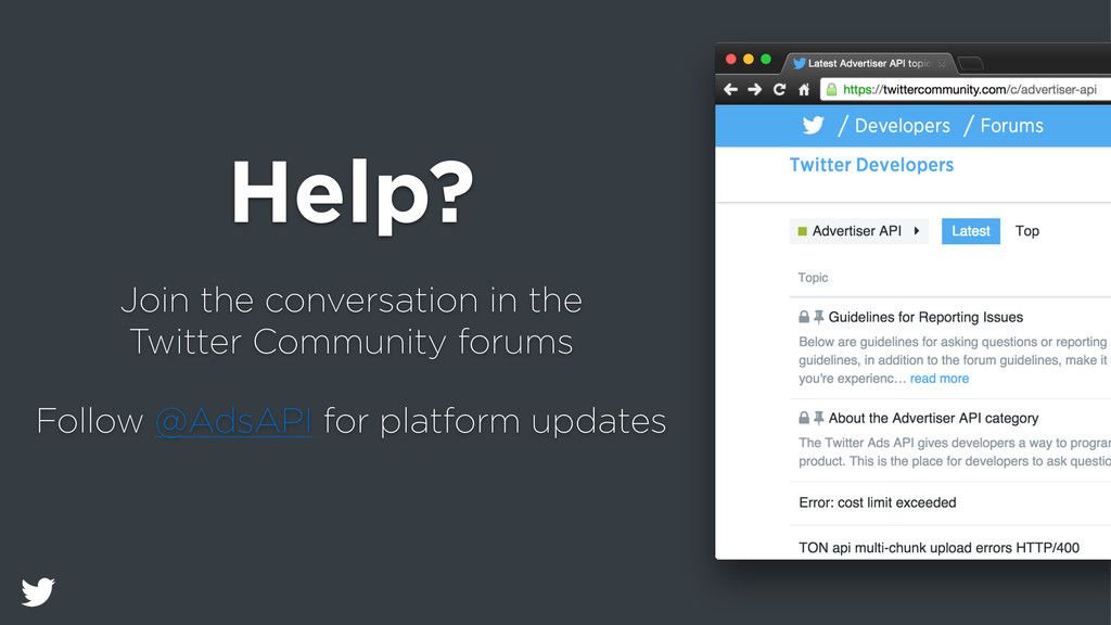Help? Join the conversation in the Twitter Comm...