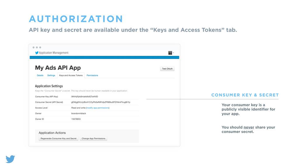 AUTHORIZATION API key and secret are available ...