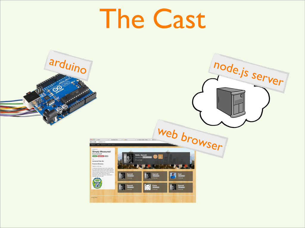 The Cast arduino node.js server web browser