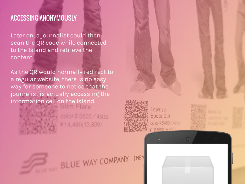 ACCESSING ANONYMOUSLY Later on, a journalist co...