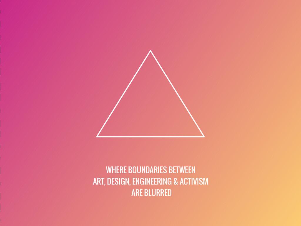 WHERE BOUNDARIES BETWEEN ART, DESIGN, ENGINEERI...