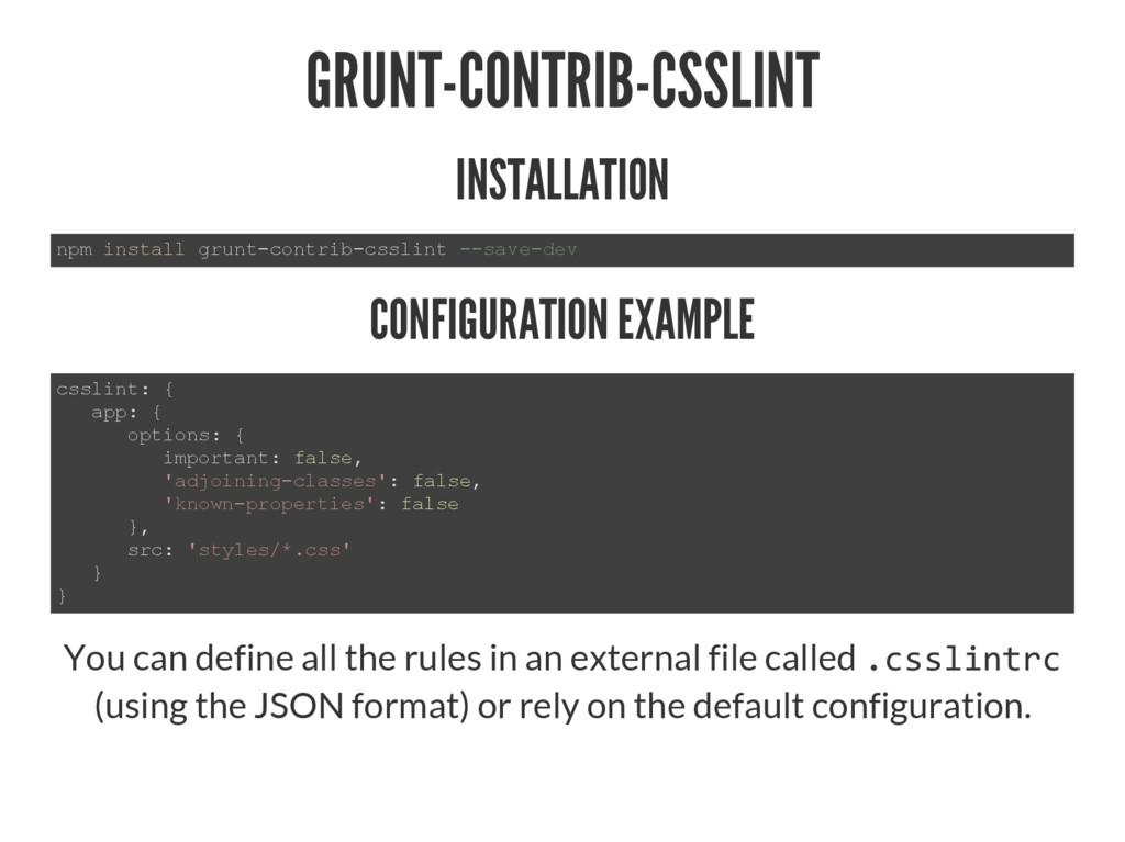 GRUNT-CONTRIB-CSSLINT INSTALLATION QSPLQVWDOO...