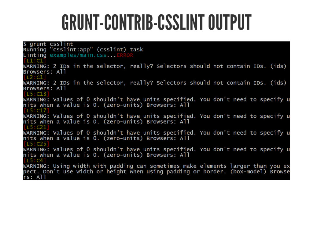 GRUNT-CONTRIB-CSSLINT OUTPUT