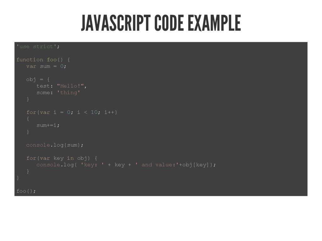 JAVASCRIPT CODE EXAMPLE  XVHVWULFW  IXQFWLRQ...
