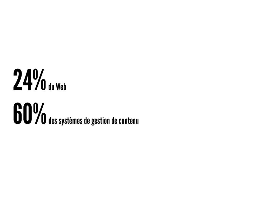 24% du Web 60% des systèmes de gestion de conte...