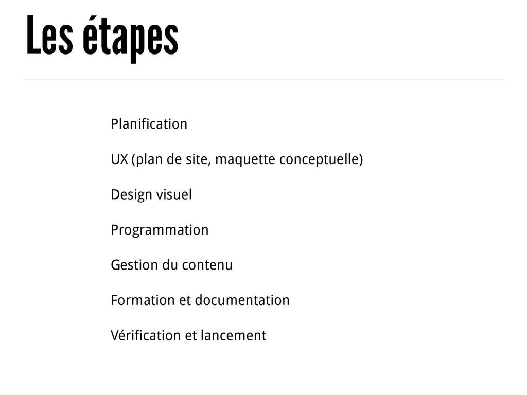 Les étapes Planification UX (plan de site, maqu...