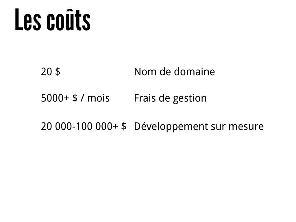 Les coûts 20 $ Nom de domaine 5000+ $ / mois Fr...