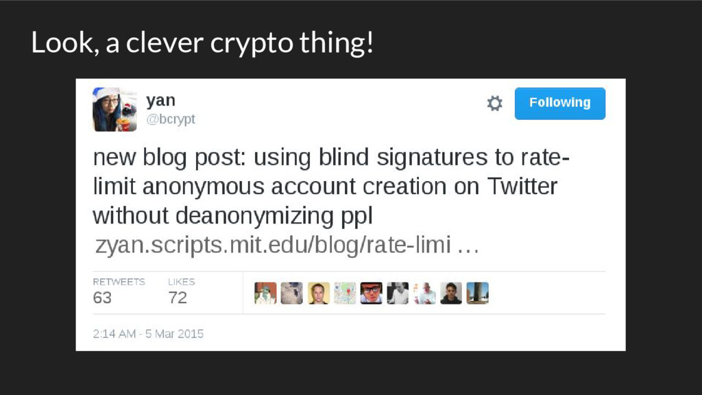 Look, a clever crypto thing!