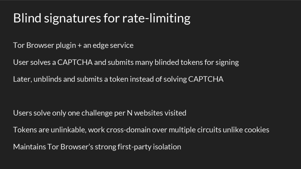 Blind signatures for rate-limiting Tor Browser ...