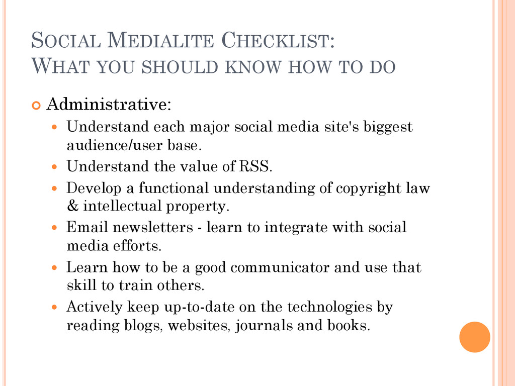 SOCIAL MEDIALITE CHECKLIST: WHAT YOU SHOULD KNO...