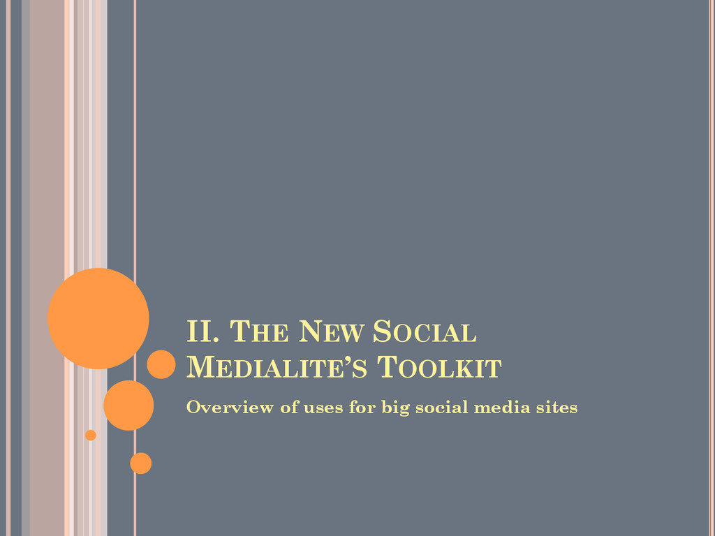 II. THE NEW SOCIAL MEDIALITE'S TOOLKIT Overview...