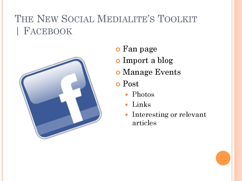 THE NEW SOCIAL MEDIALITE'S TOOLKIT   FACEBOOK ¢...