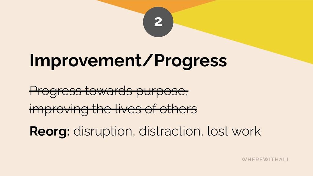 Improvement/Progress Reorg: 2