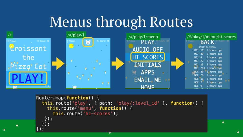 Menus through Routes 11 > > > > > > > > > > > >...