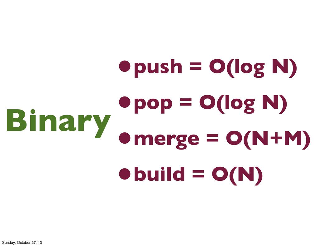 •push = O(log N) •pop = O(log N) •merge = O(N+M...