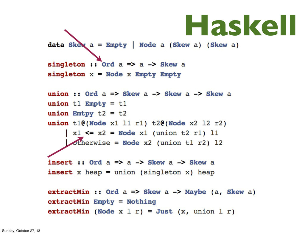 Haskell Sunday, October 27, 13
