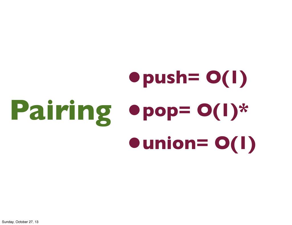•push= O(1) •pop= O(1)* •union= O(1) Pairing Su...