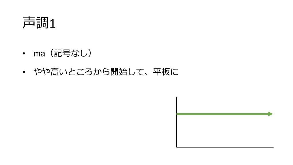 声調1 • ma(記号なし) • やや⾼いところから開始して、平板に