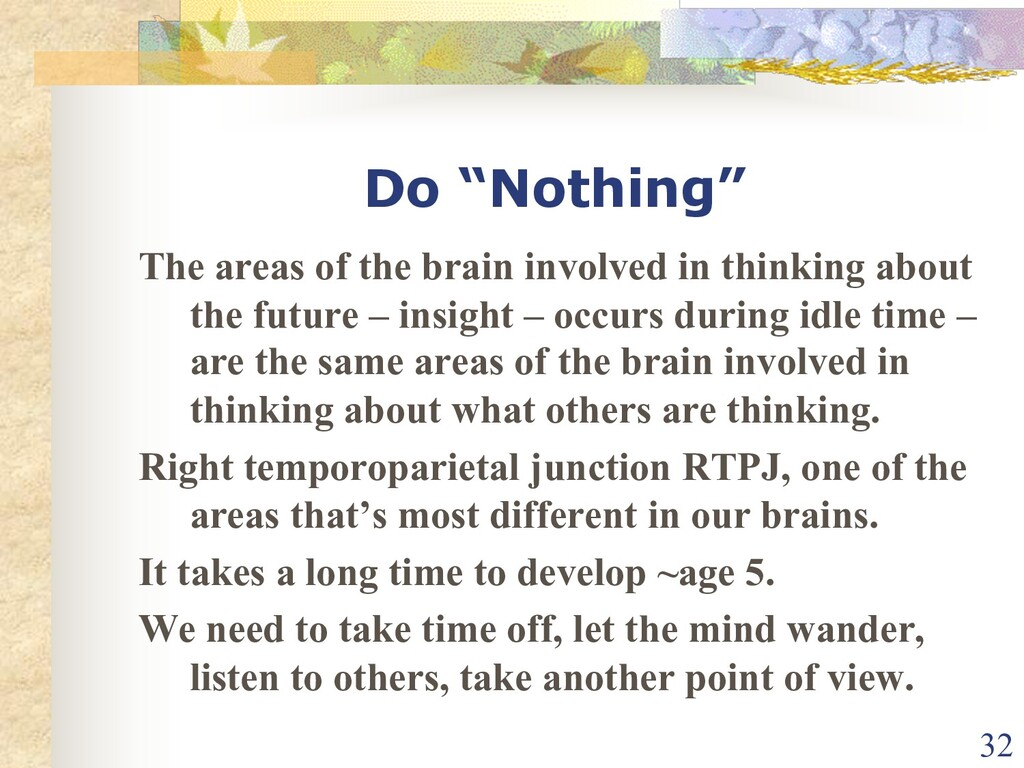 """Do """"Nothing"""" The areas of the brain involved in..."""