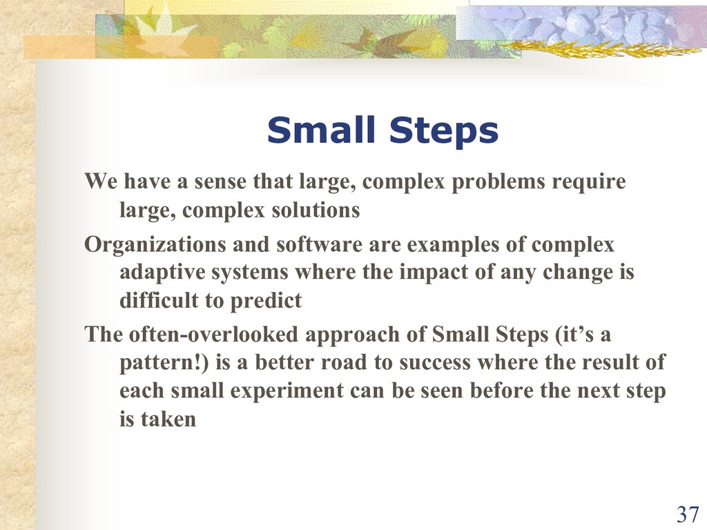 Small Steps We have a sense that large, complex...