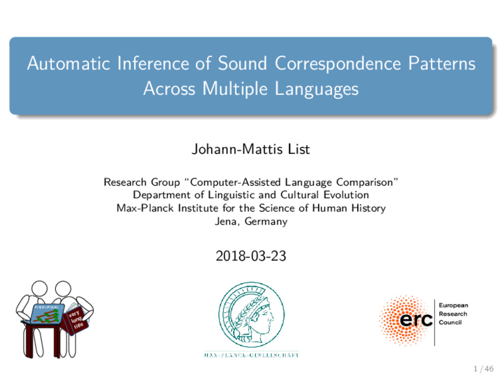 Automatic Inference of Sound Correspondence Pat...