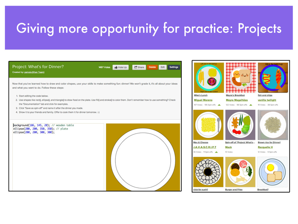 Giving more opportunity for practice: Projects