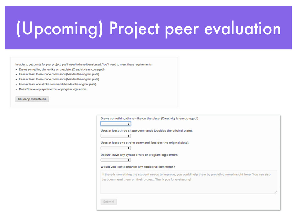 (Upcoming) Project peer evaluation