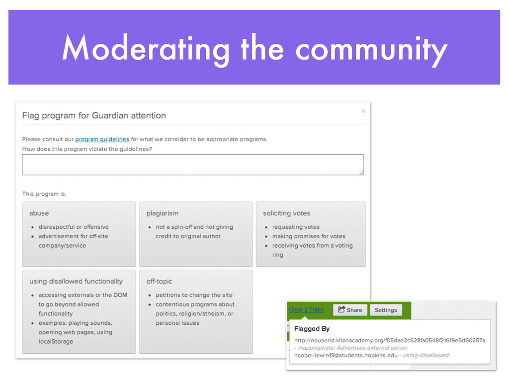 Moderating the community