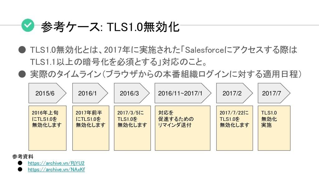 参考ケース: TLS1.0無効化 ● TLS1.0無効化とは、2017年に実施された「Sale...