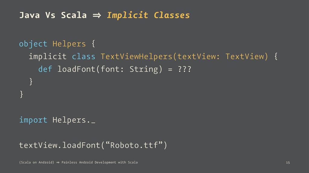 Java Vs Scala 㱺 Implicit Classes object Helpers...