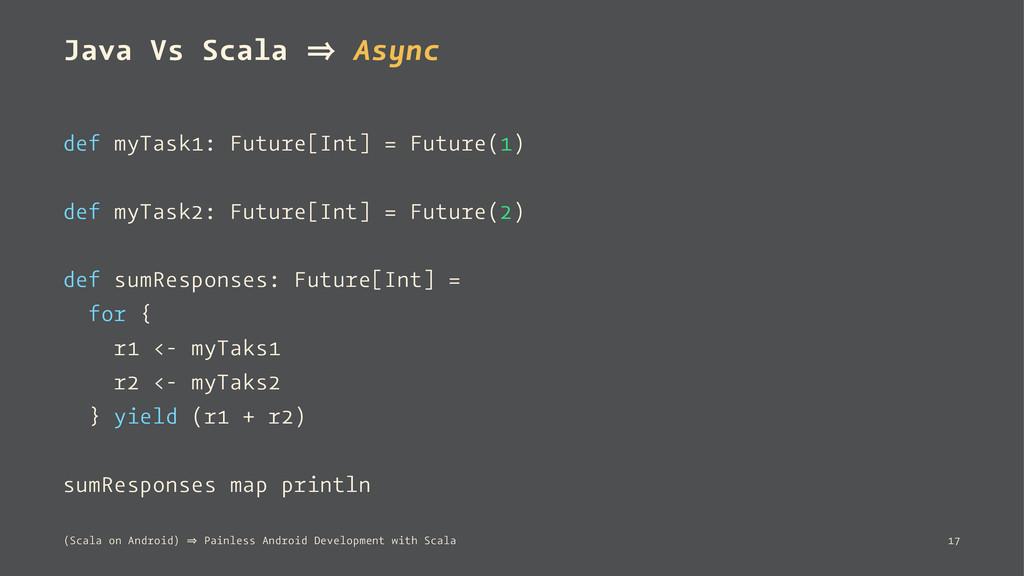 Java Vs Scala 㱺 Async def myTask1: Future[Int] ...