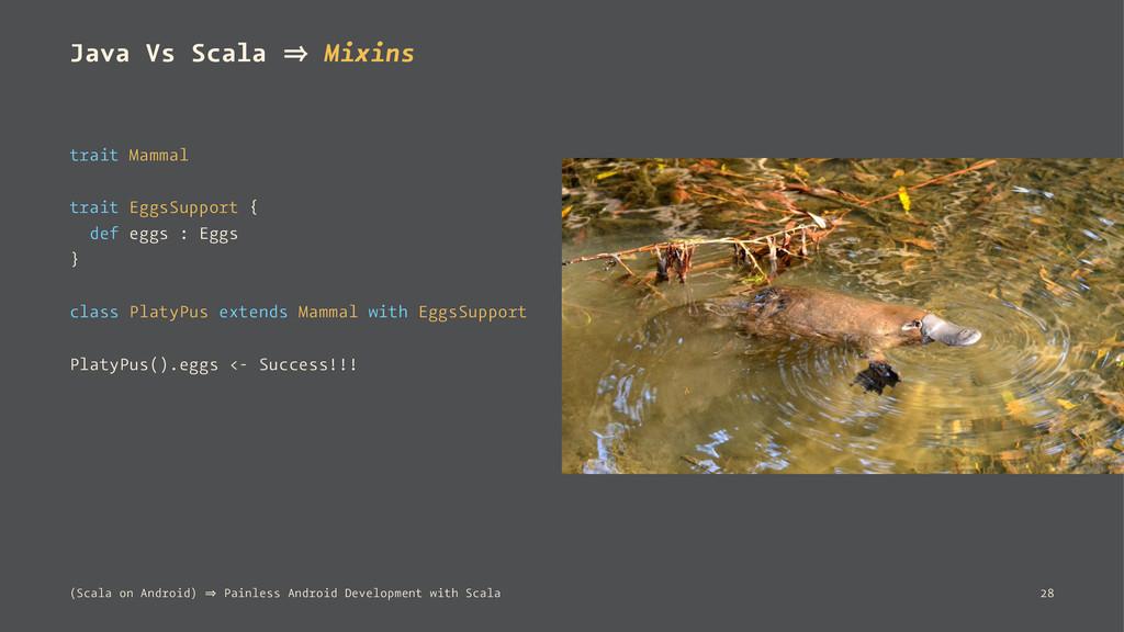 Java Vs Scala 㱺 Mixins trait Mammal trait EggsS...