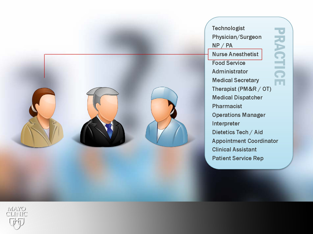 21 Technologist Physician/Surgeon NP / PA Nurse...