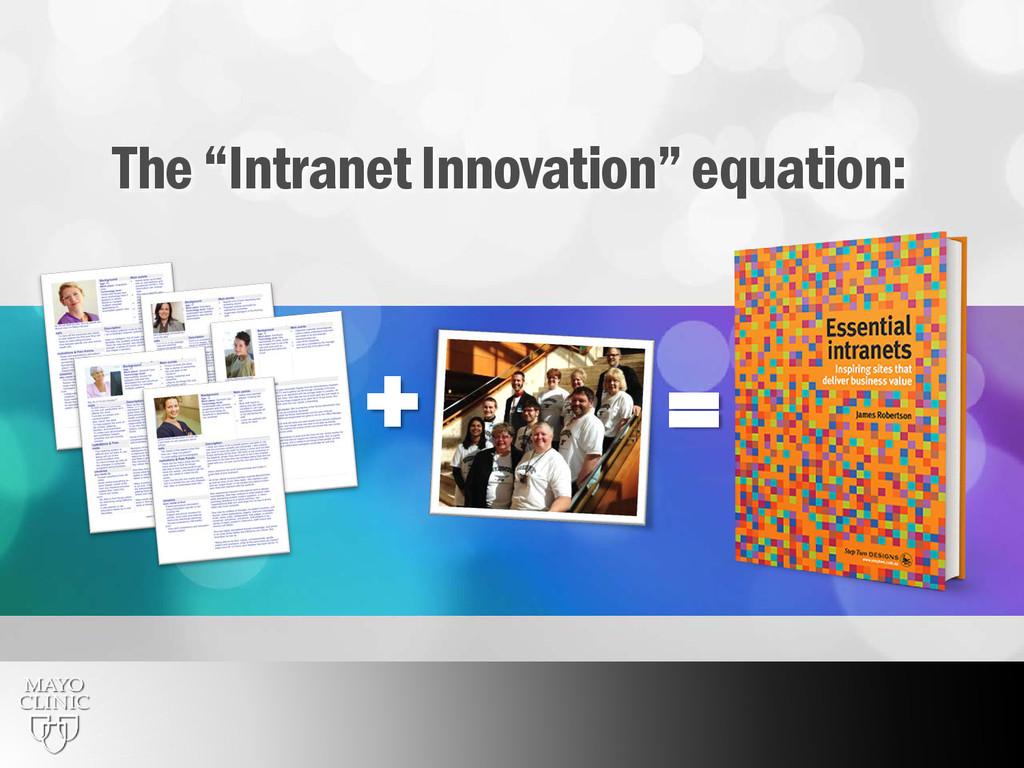 "8 = + The ""Intranet Innovation"" equation:"