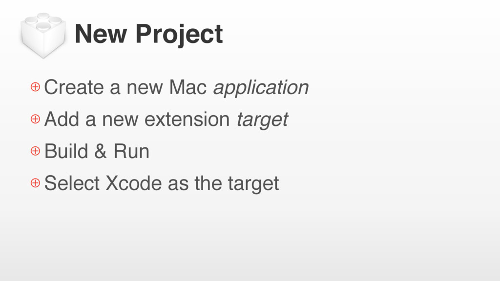 New Project ⊕ Create a new Mac application ⊕ Ad...