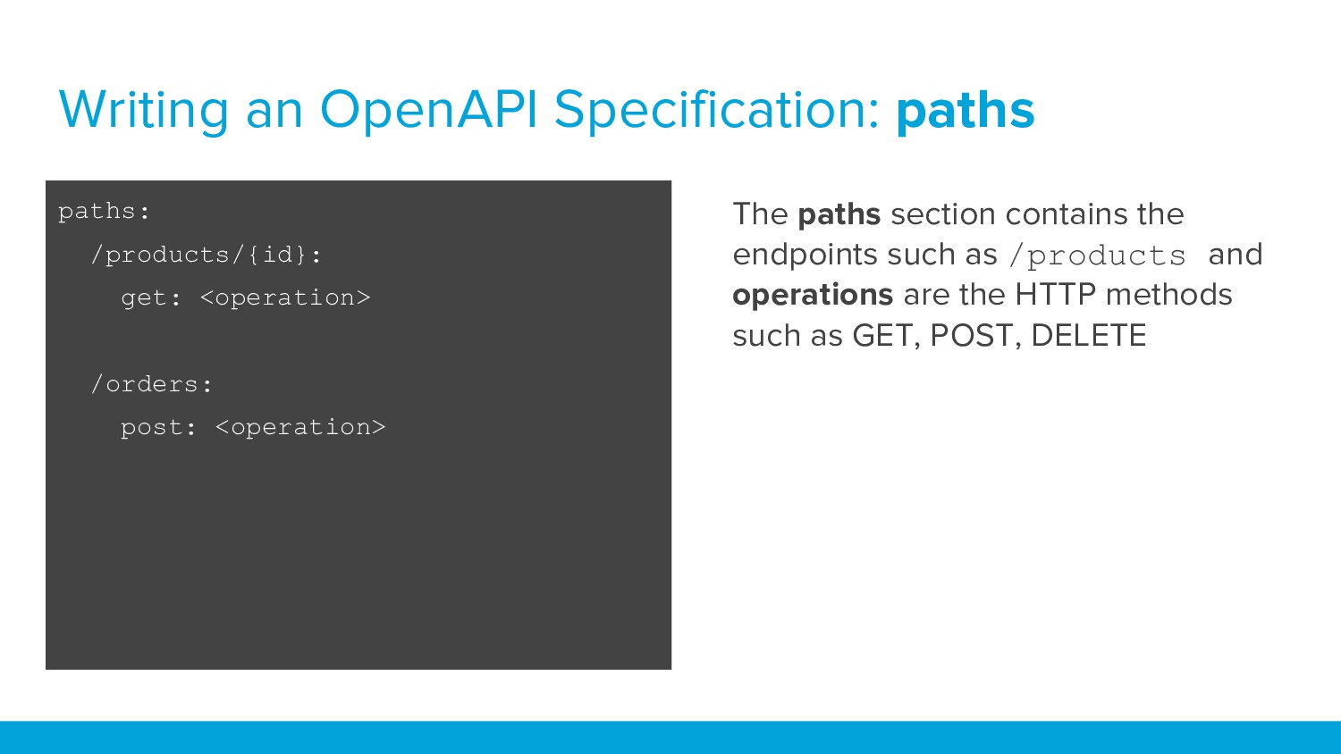 Writing an OpenAPI Specification: paths The pat...