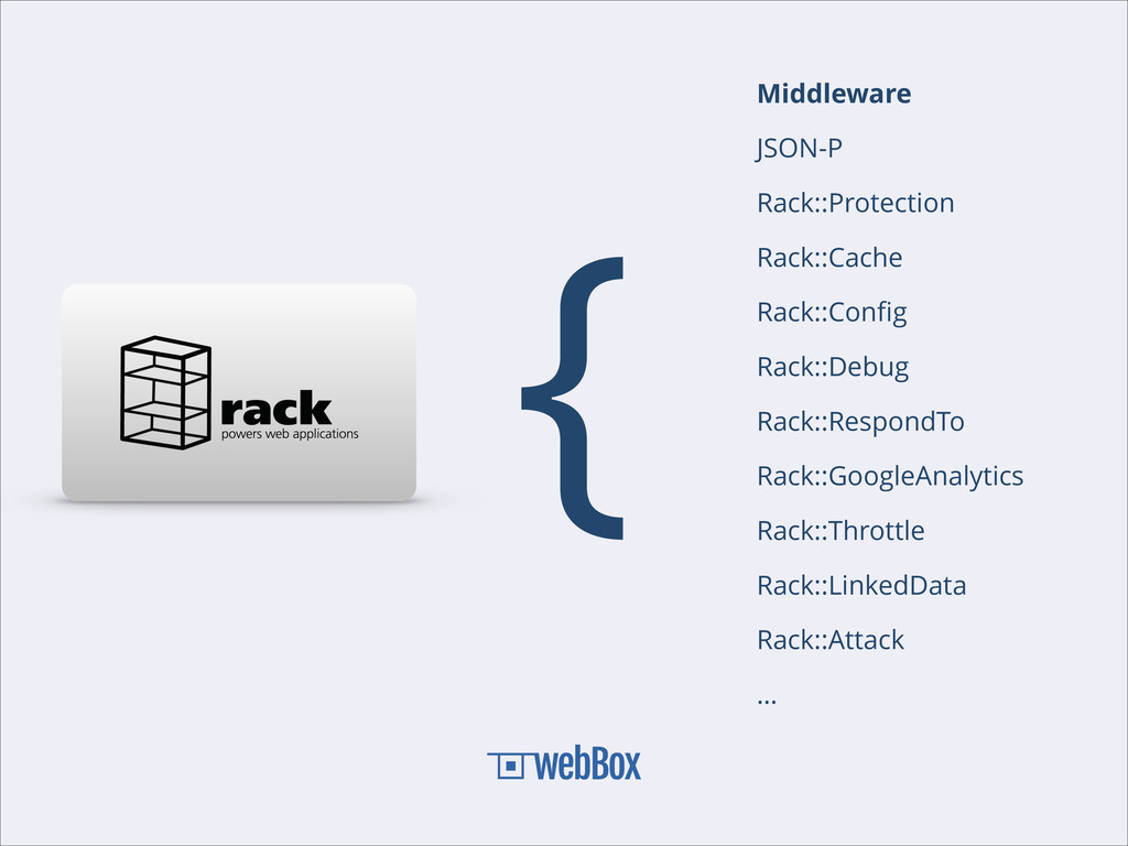 { Middleware JSON-P Rack::Protection Rack::Cach...