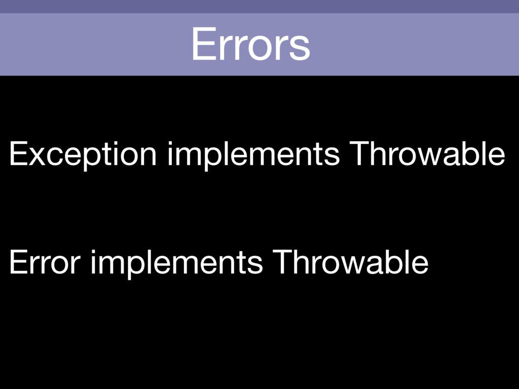 Errors Exception implements Throwable Error imp...