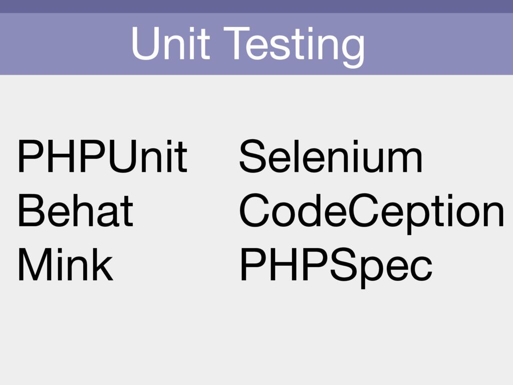 Unit Testing PHPUnit  Behat  Mink Selenium  Cod...