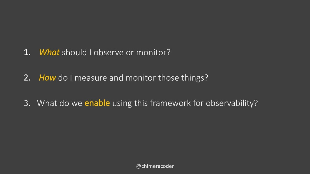 1. What should I observe or monitor? 2. How do ...